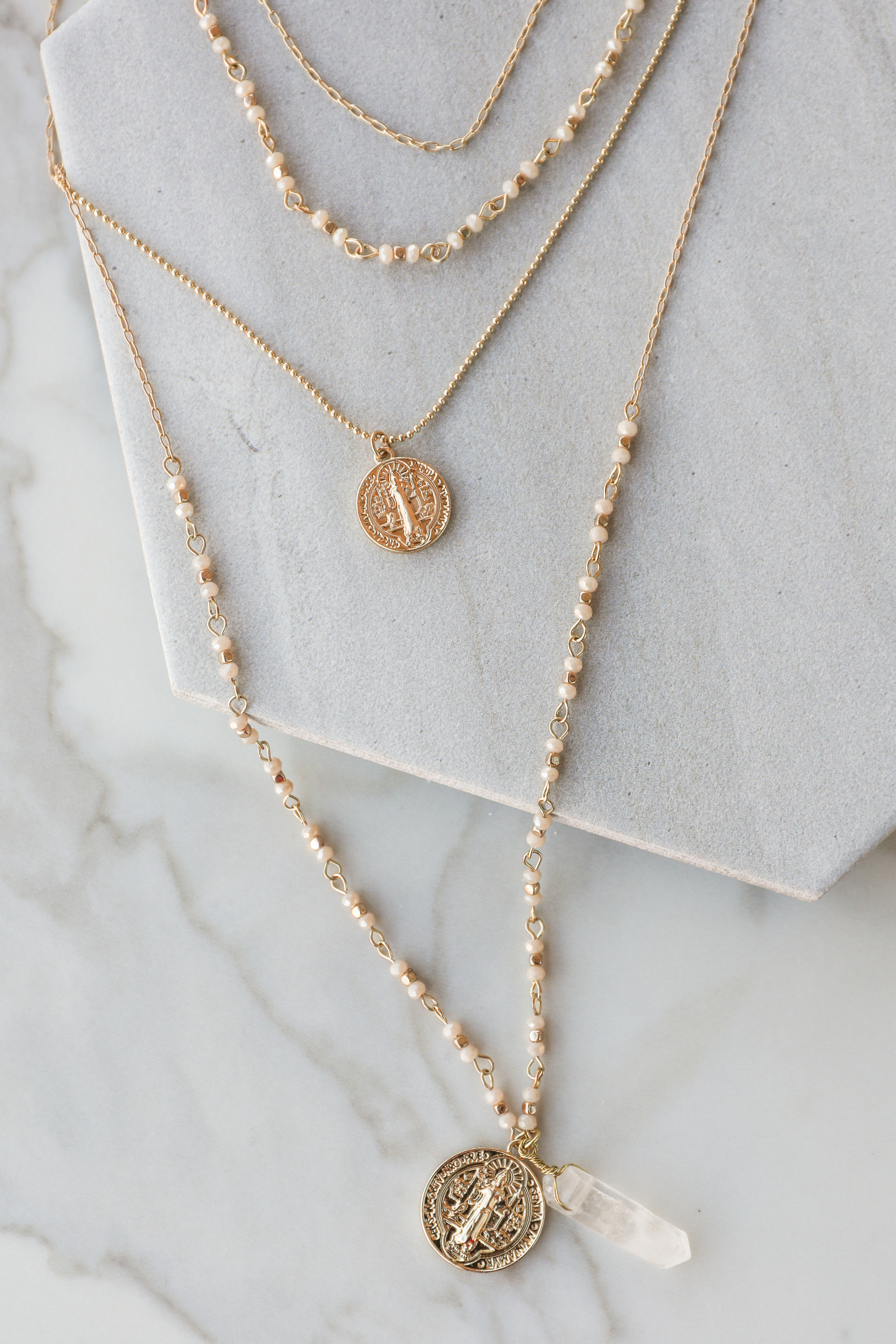 Gold Layered Necklace with Stone and Coin Pendants