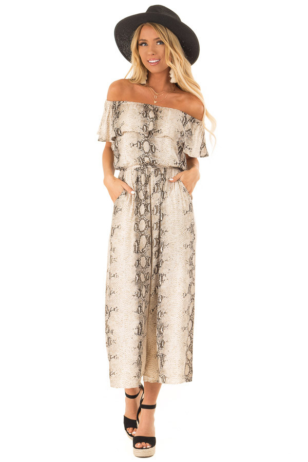 Taupe Snakeskin Printed Off Shoulder Jumpsuit with Overlay front full body