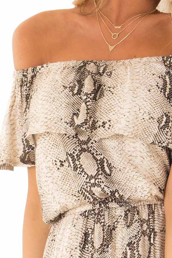 Taupe Snakeskin Printed Off Shoulder Jumpsuit with Overlay detail