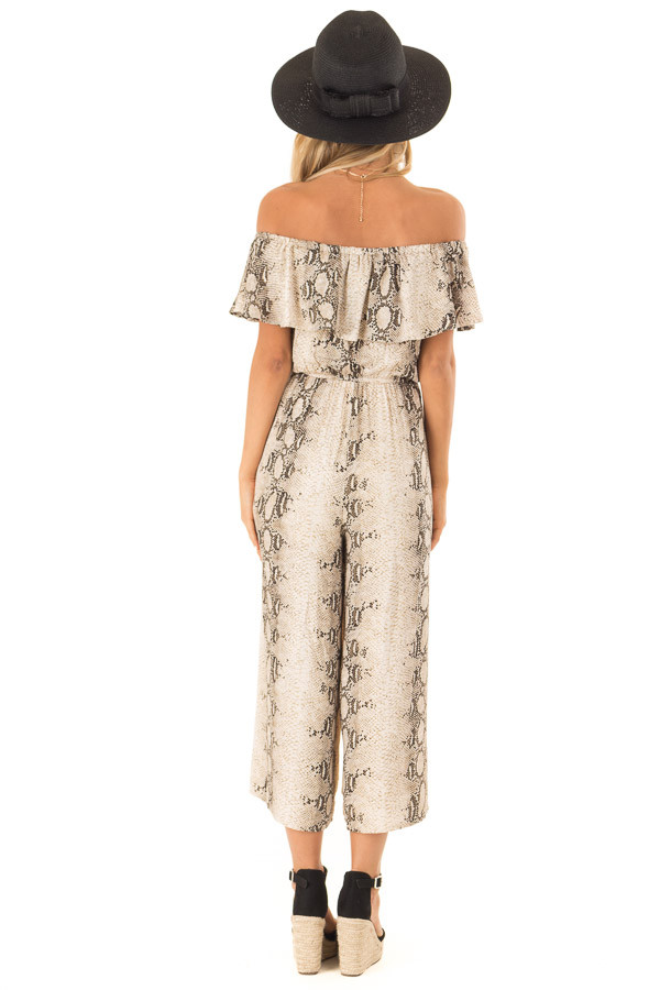 Taupe Snakeskin Printed Off Shoulder Jumpsuit with Overlay back full body