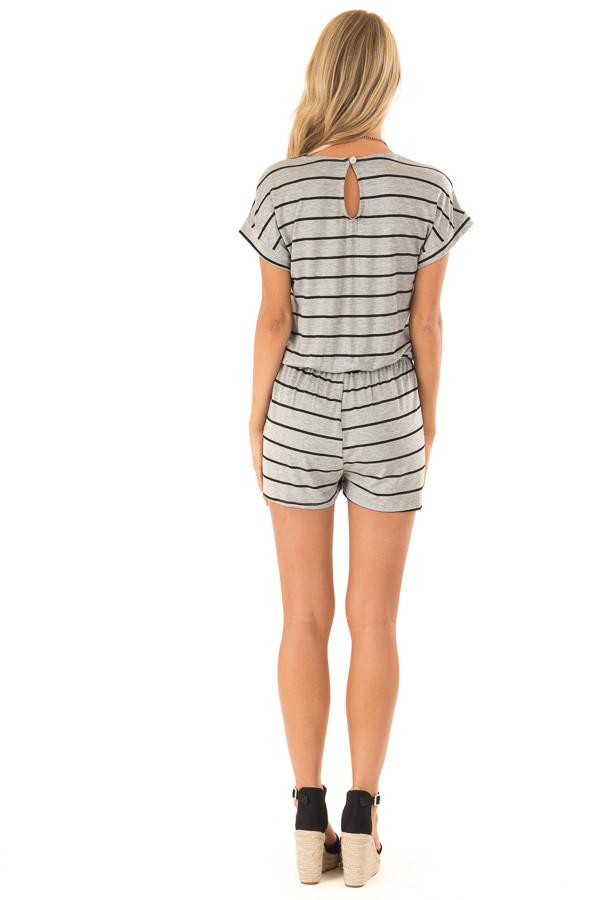 Heather Grey and Black Striped Romper with Front Tie back full body