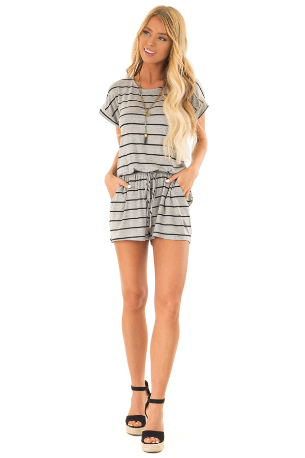 Heather Grey and Black Striped Romper with Front Tie front full body