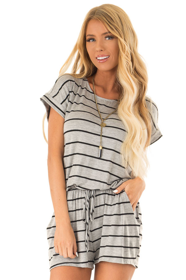 Heather Grey and Black Striped Romper with Front Tie front close up