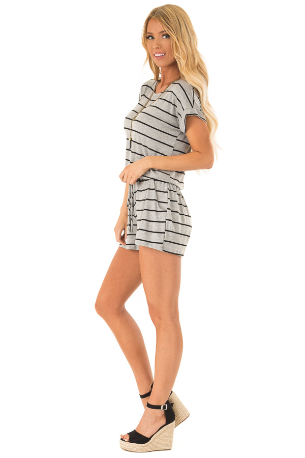 Heather Grey and Black Striped Romper with Front Tie side full body