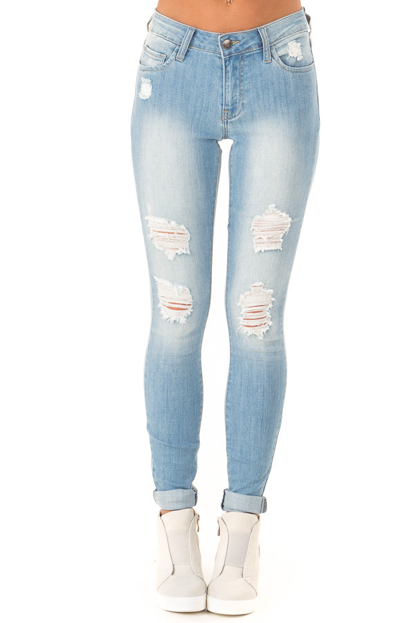 Light Wash Distressed Skinny Jeans with Cuffed Hemline front view