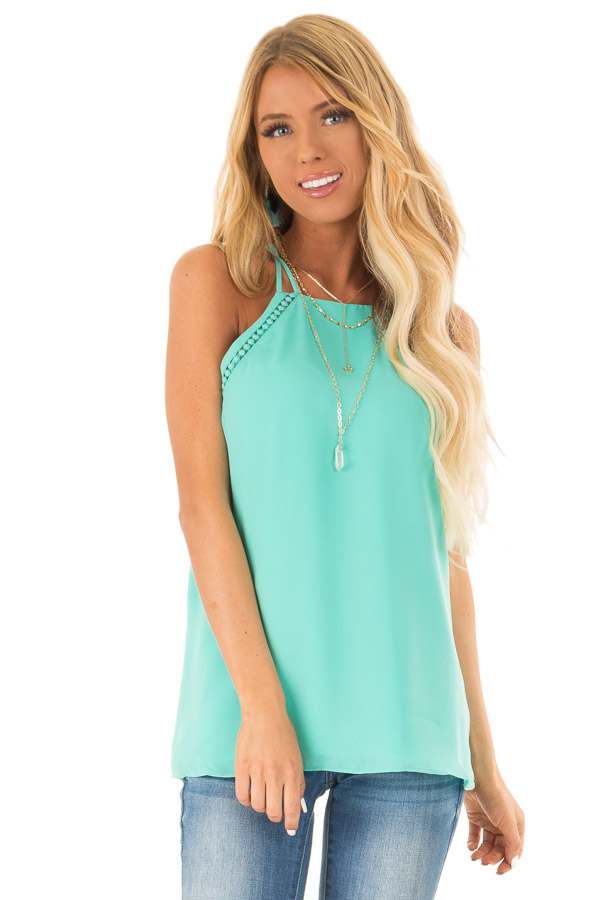 Ice Green Halter Tank Top with Double Strap Detail front close up