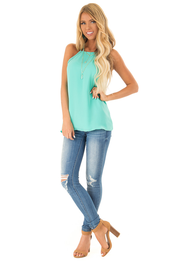 Ice Green Halter Tank Top with Double Strap Detail front full body