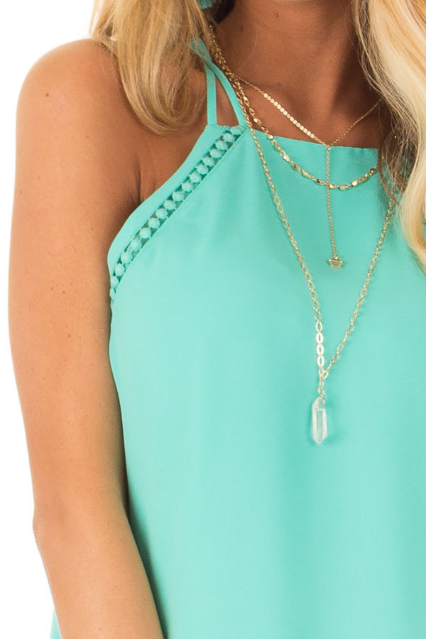 Ice Green Halter Tank Top with Double Strap Detail detail
