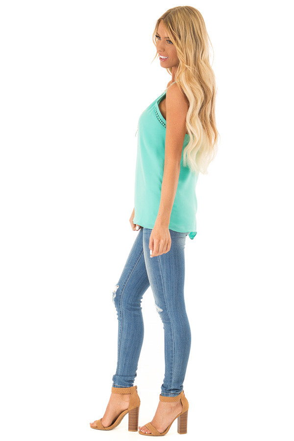 Ice Green Halter Tank Top with Double Strap Detail side full body