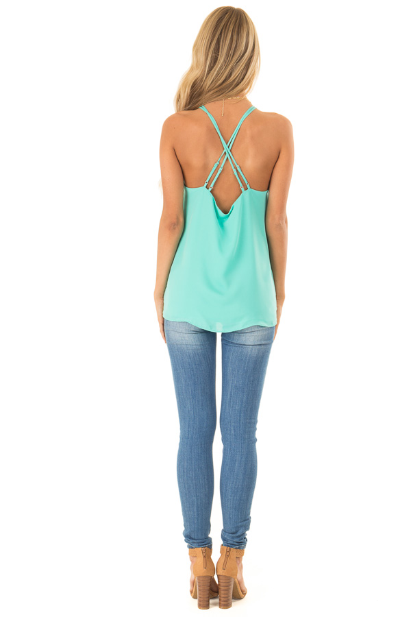Ice Green Halter Tank Top with Double Strap Detail back full body