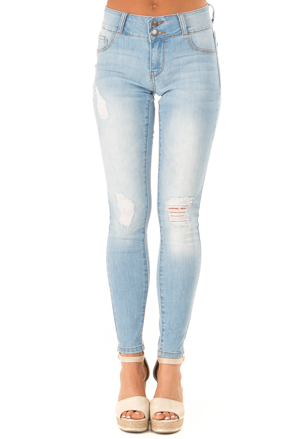 Light Wash Distressed High Waist Skinny Jeans front view