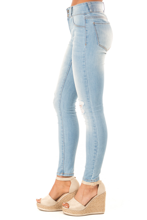 Light Wash Distressed High Waist Skinny Jeans side view
