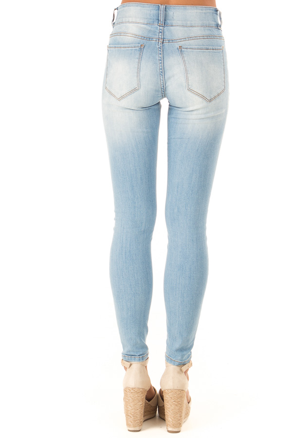 Light Wash Distressed High Waist Skinny Jeans back view