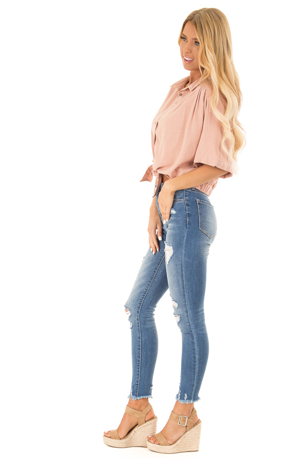Dusty Blush Button Up Collared Cropped Top with Tie Detail side full body