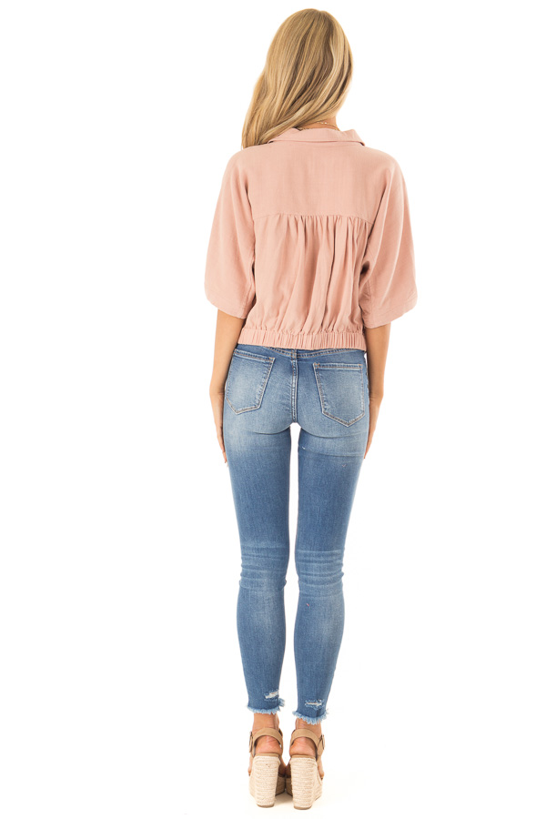 Dusty Blush Button Up Collared Cropped Top with Tie Detail back full body