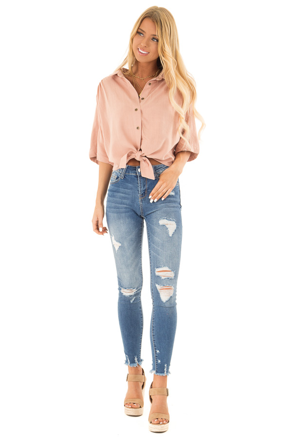 Dusty Blush Button Up Collared Cropped Top with Tie Detail front full body