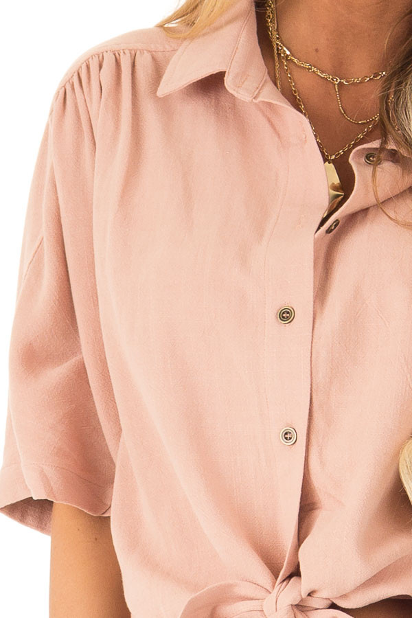 Dusty Blush Button Up Collared Cropped Top with Tie Detail detail