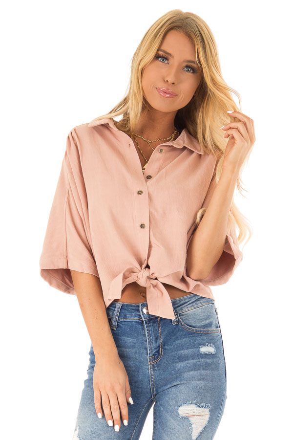Dusty Blush Button Up Collared Cropped Top with Tie Detail front close up