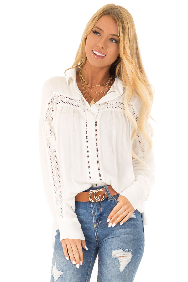 Cotton White Collared Button Up Top with Lace Details front close up