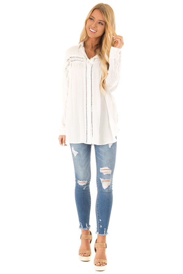 Cotton White Collared Button Up Top with Lace Details front full body