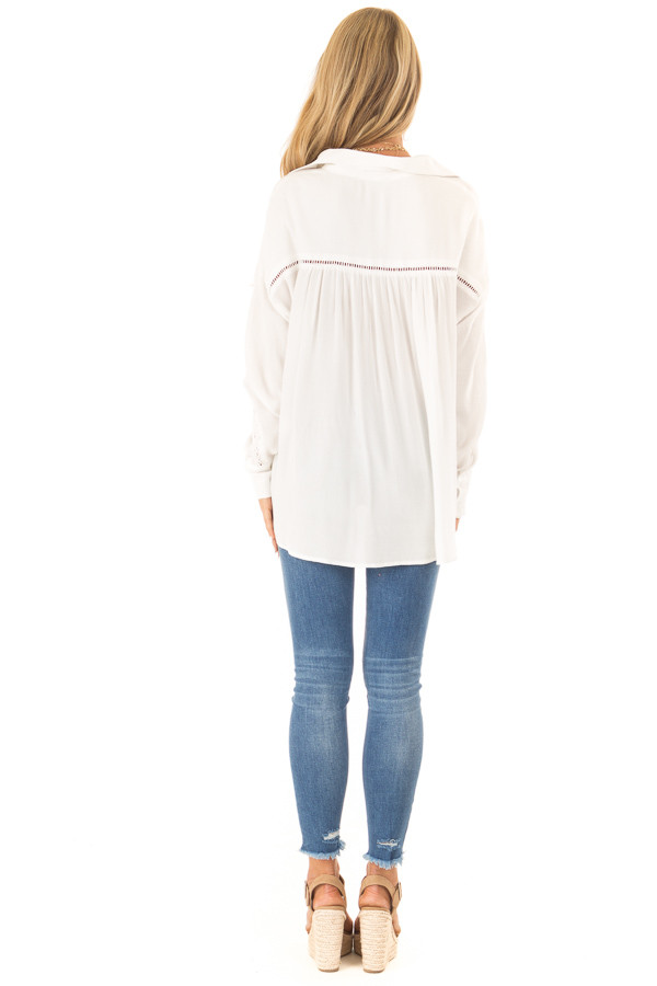 Cotton White Collared Button Up Top with Lace Details back full body
