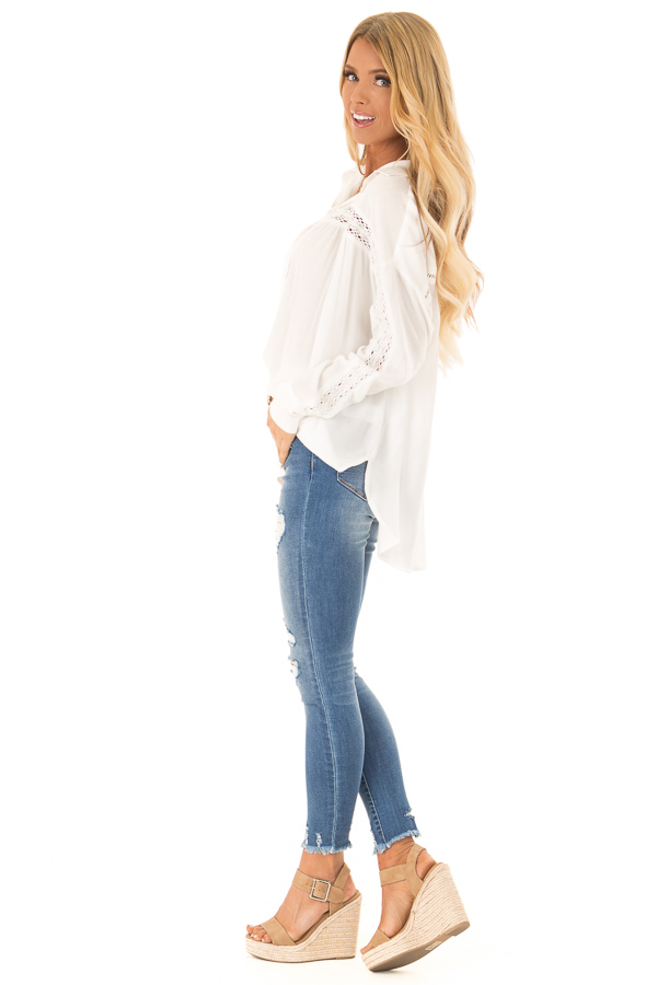 Cotton White Collared Button Up Top with Lace Details side full body