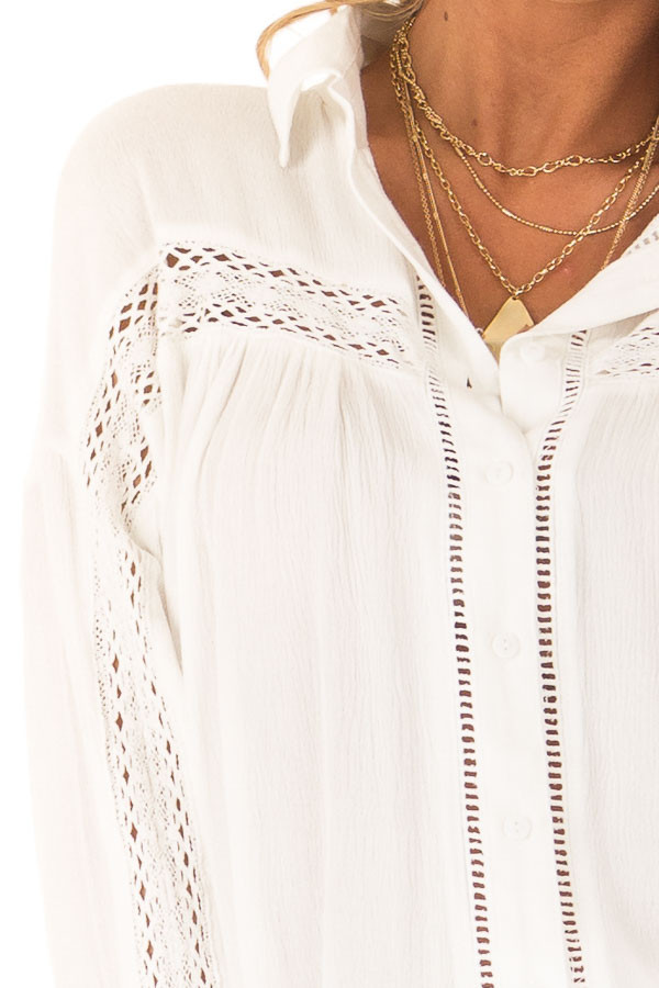 Cotton White Collared Button Up Top with Lace Details detail