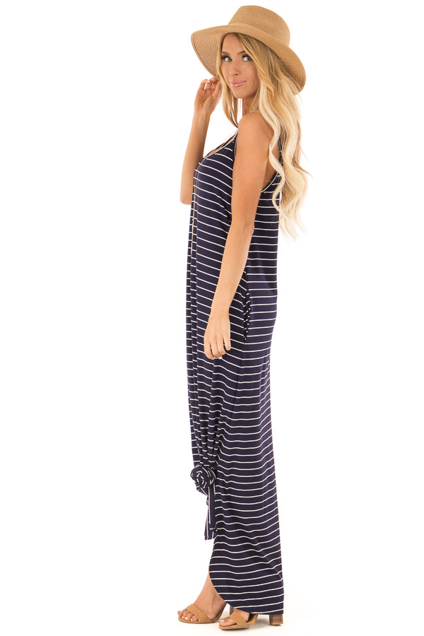 Midnight Blue and Ivory Striped Maxi Dress with Side Slits side full body