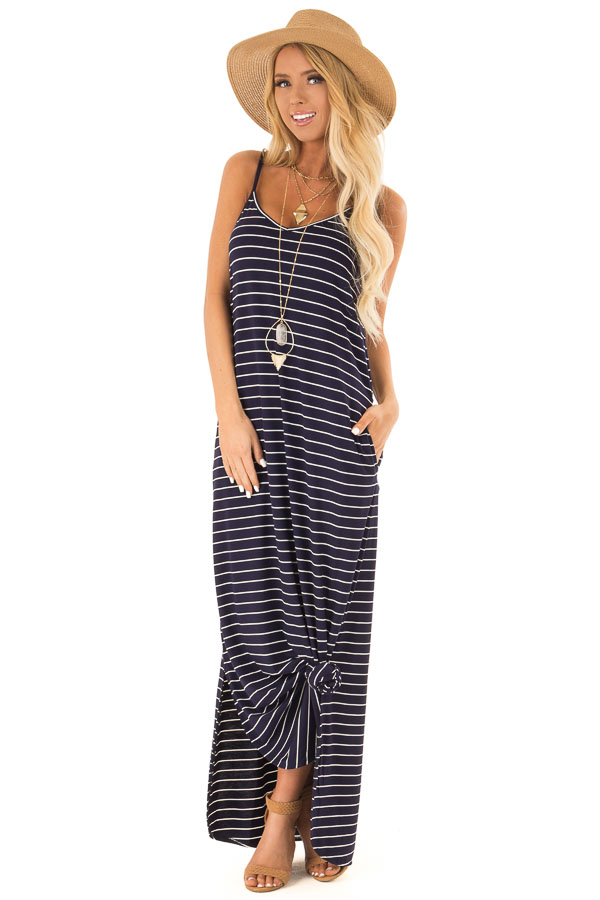 Midnight Blue and Ivory Striped Maxi Dress with Side Slits front full body