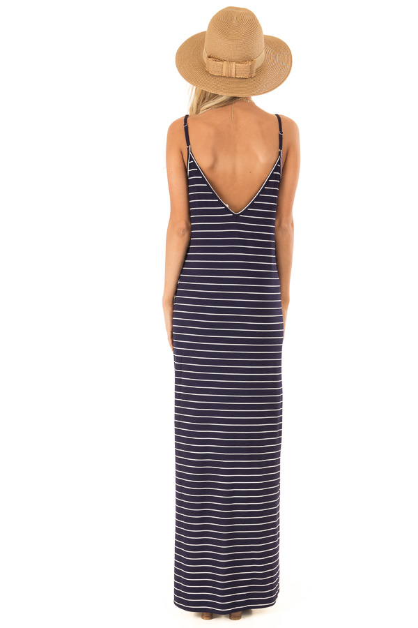 Midnight Blue and Ivory Striped Maxi Dress with Side Slits back full body