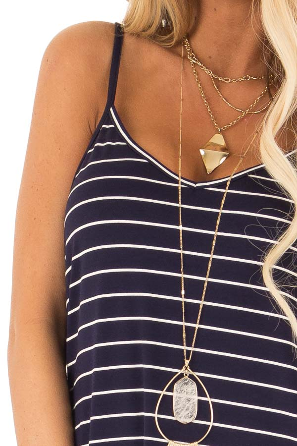 Midnight Blue and Ivory Striped Maxi Dress with Side Slits detail