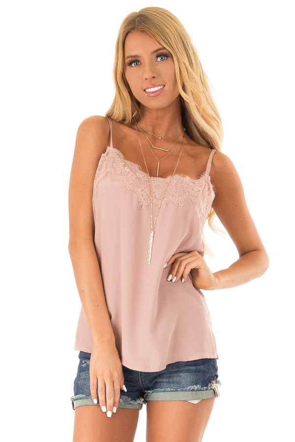 Dusty Mauve Spaghetti Strap Loose Lace Camisole front close up