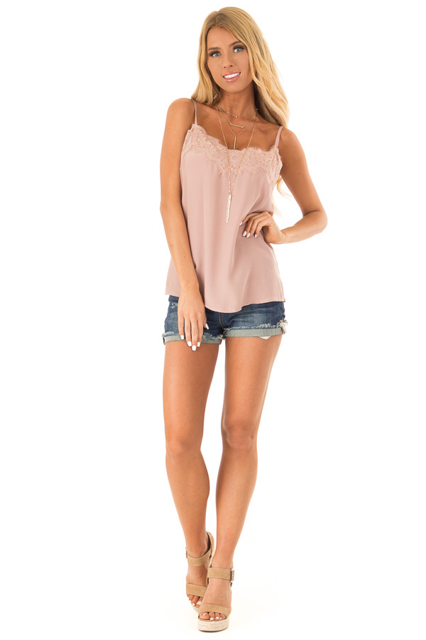 Dusty Mauve Spaghetti Strap Loose Lace Camisole front full body