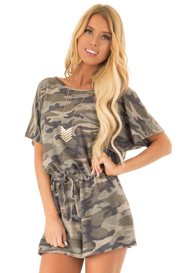 Olive Camo Print Short Sleeve Romper with Waist Tie front close up