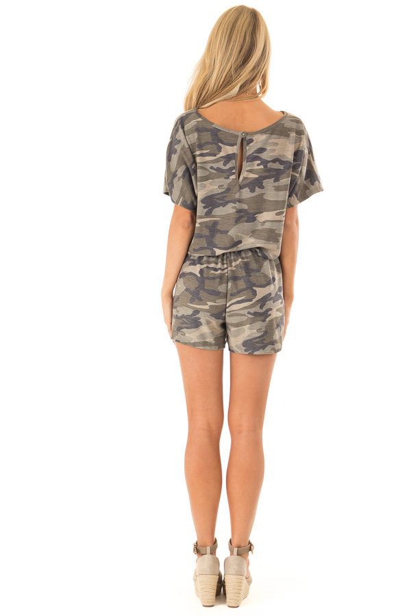 Olive Camo Print Short Sleeve Romper with Waist Tie back full body