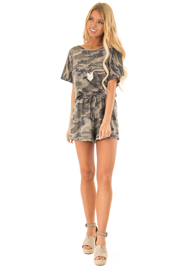 Olive Camo Print Short Sleeve Romper with Waist Tie front full body