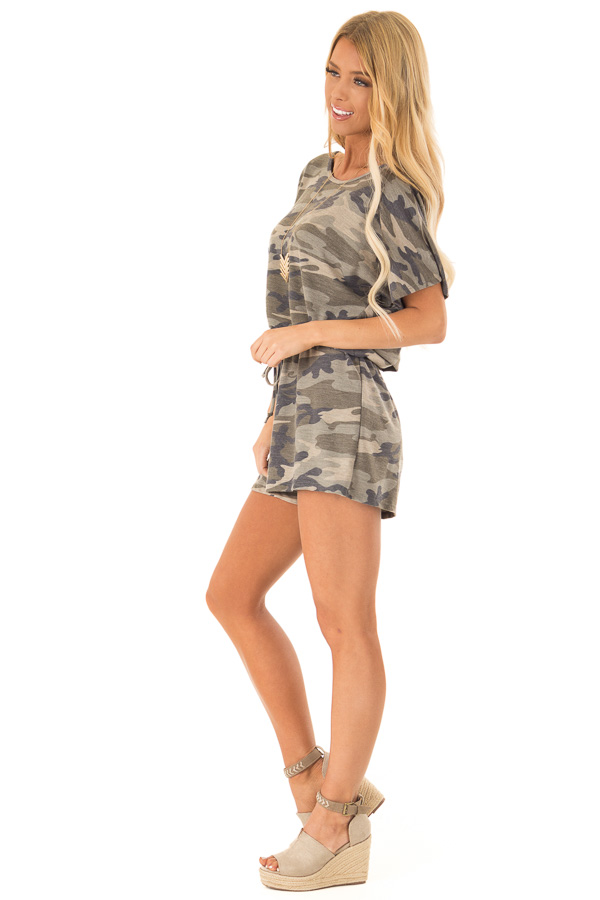 Olive Camo Print Short Sleeve Romper with Waist Tie side full body