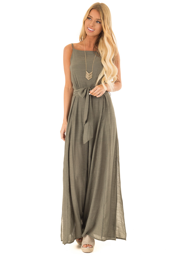 Dusty Olive Jumpsuit with Wide Leg Side Slit Detail front full body