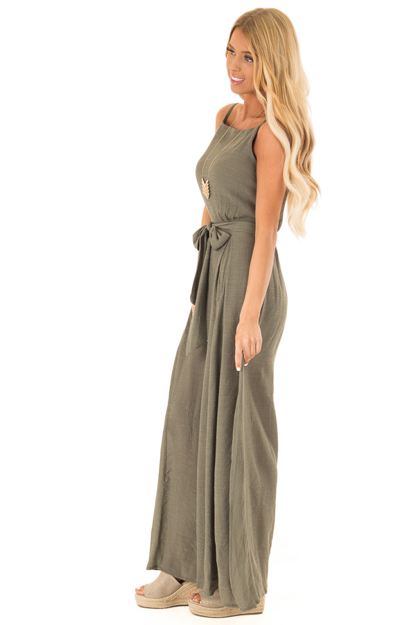Dusty Olive Jumpsuit with Wide Leg Side Slit Detail side full body
