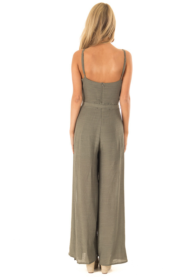 Dusty Olive Jumpsuit with Wide Leg Side Slit Detail back full body