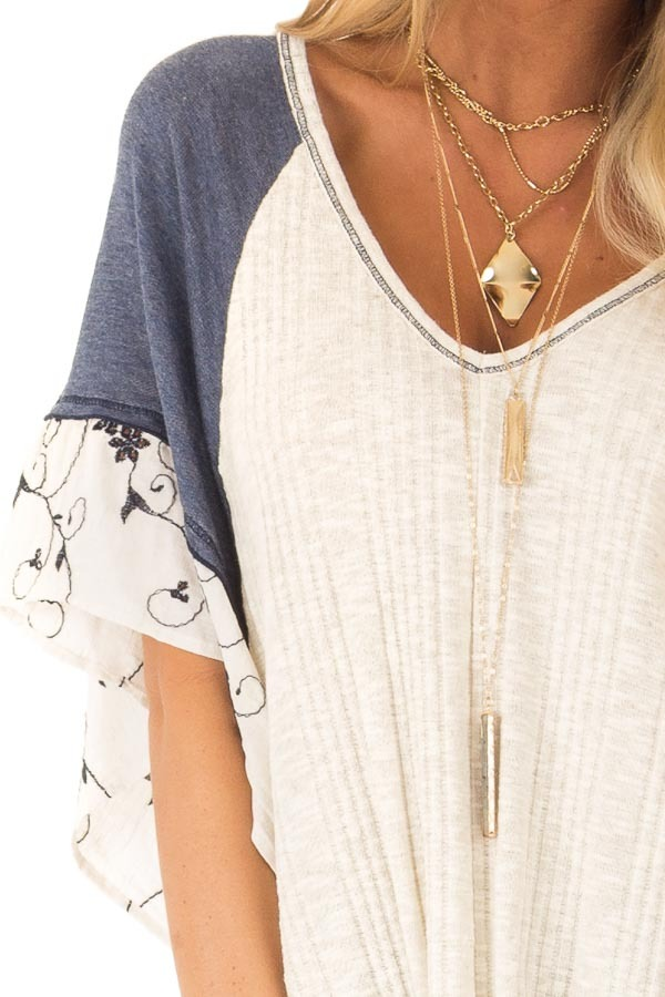 Oatmeal and Navy V Neck Top with Batwing Sleeves and Tie detail