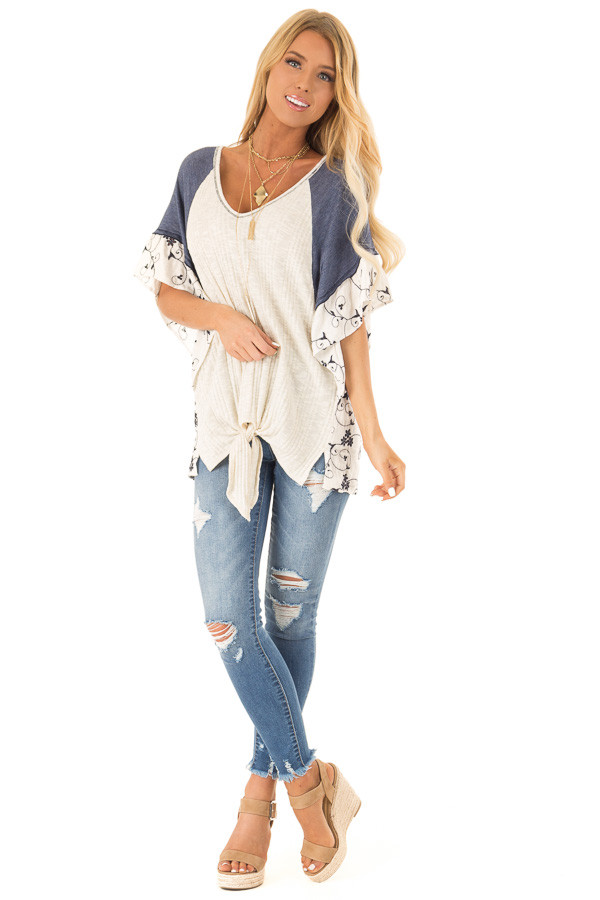 Oatmeal and Navy V Neck Top with Batwing Sleeves and Tie front full body