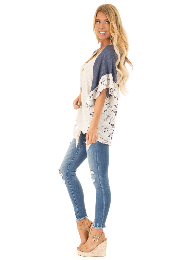 Oatmeal and Navy V Neck Top with Batwing Sleeves and Tie side full body