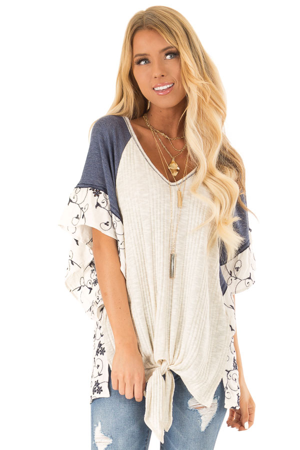 Oatmeal and Navy V Neck Top with Batwing Sleeves and Tie front close up