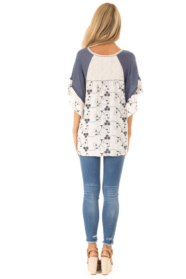 Oatmeal and Navy V Neck Top with Batwing Sleeves and Tie back full body