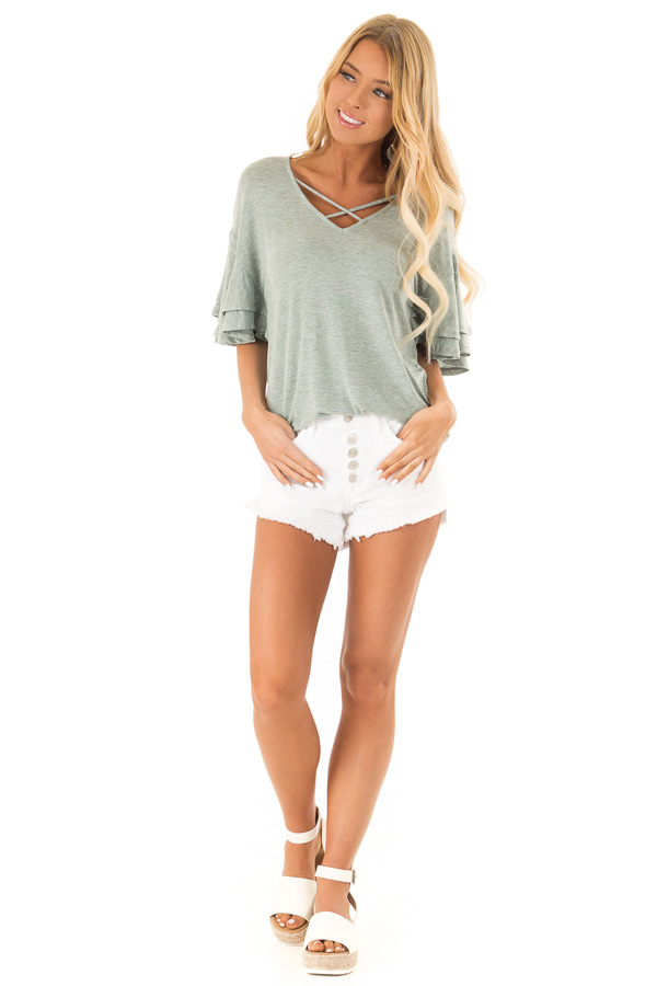 Sage Short Bell Sleeve Ruffle Top front full body