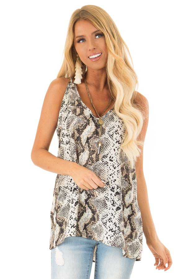 Beige Snakeskin Print Tank Top with Criss Cross Straps front close up