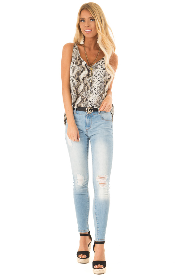Beige Snakeskin Print Tank Top with Criss Cross Straps front full body