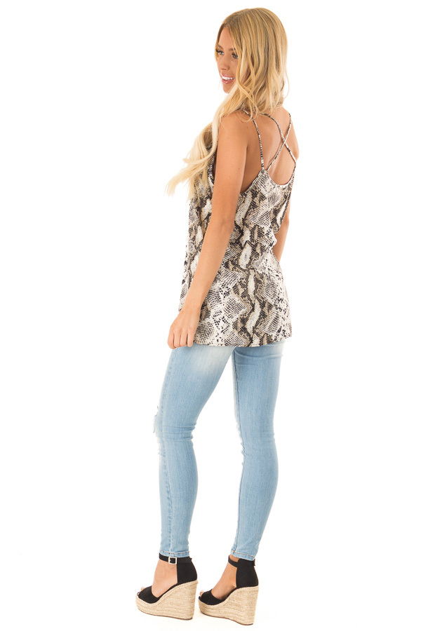 Beige Snakeskin Print Tank Top with Criss Cross Straps side full body