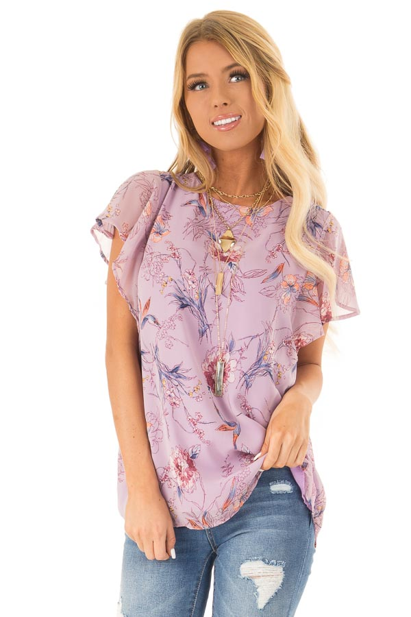 631e91ef27cc7d Lilac Chiffon Floral Short Sleeve Top with Ruffle Sleeves front close up
